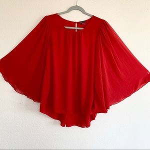 Vince Camuto Angel Wing Chiffon Sleeve Red Blouse